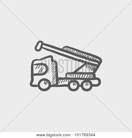 Machine with a crane and cradles sketch icon for web, mobile and infographics. Hand drawn vector dark grey icon isolated on light grey background.