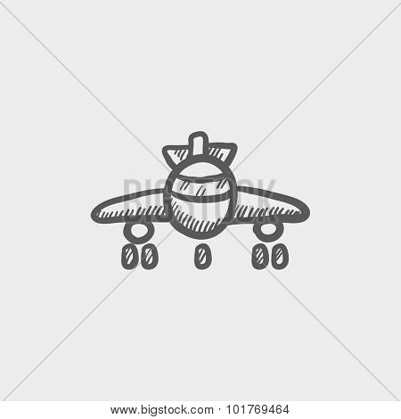 Airplane sketch icon for web, mobile and infographics. Hand drawn vector dark grey icon isolated on light grey background.