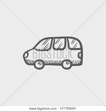 Van sketch icon for web, mobile and infographics. Hand drawn vector dark grey icon isolated on light grey background.
