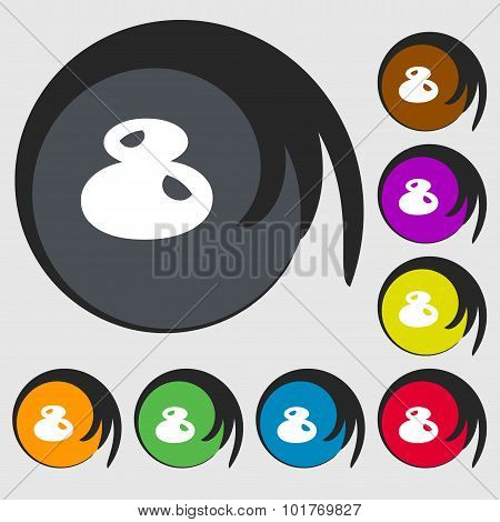 Number Eight Icon Sign. Symbols On Eight Colored Buttons. Vector