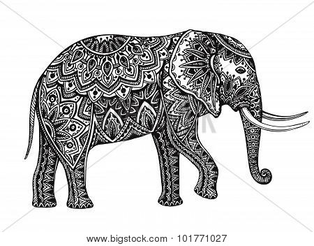 Stylized Fantasy Patterned Elephant. Hand Drawn Vector Illustration With Floral Elements.