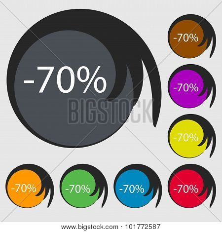 70 Percent Discount Sign Icon. Sale Symbol. Special Offer Label. Symbols On Eight Colored Buttons. V