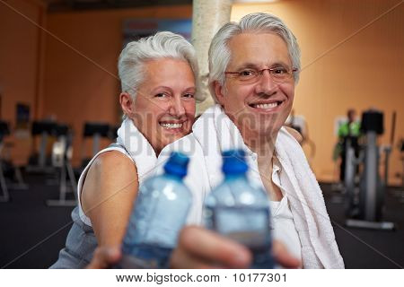 Senior Couple With Water Bottles