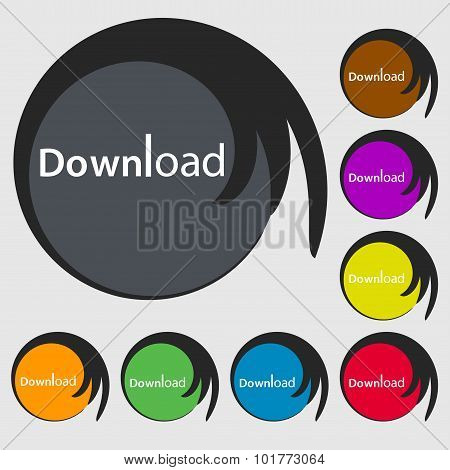 Download Now Icon. Load Symbol. Symbols On Eight Colored Buttons. Vector