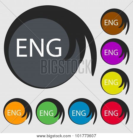 English Sign Icon. Great Britain Symbol. Symbols On Eight Colored Buttons. Vector