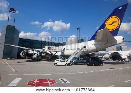 Lufthansa Boeing 747 At The Gate In Frankfurt Airport
