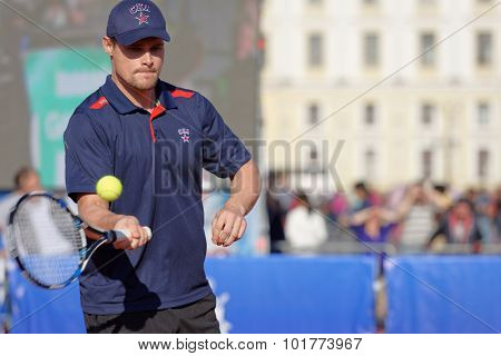 ST. PETERSBURG, RUSSIA - SEPTEMBER 12, 2015: Professional ice hockey player Alexey Ponikarovsky in the exhibition match of International tennis tournament St. Petersburg Open
