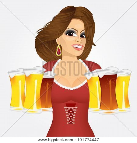 woman with six froth beer mugs
