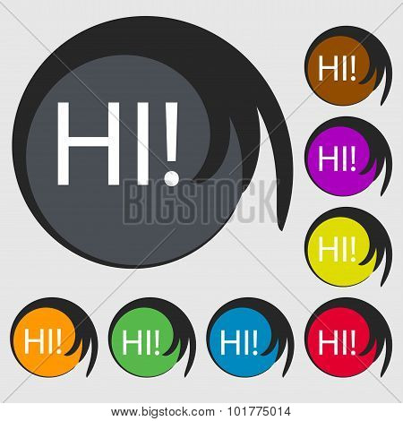 Hi Sign Icon. India Translation Symbol. Symbols On Eight Colored Buttons. Vector