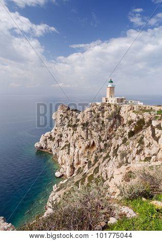 Cape Melagavi lighthouse, Corinthia, Greece