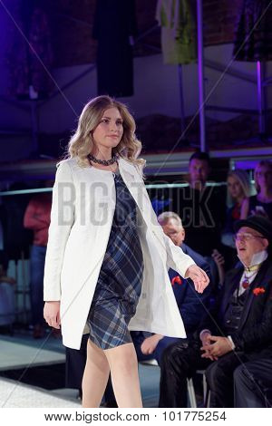 ST. PETERSBURG, RUSSIA - SEPTEMBER 14, 2015: Fashion show at the opening of project