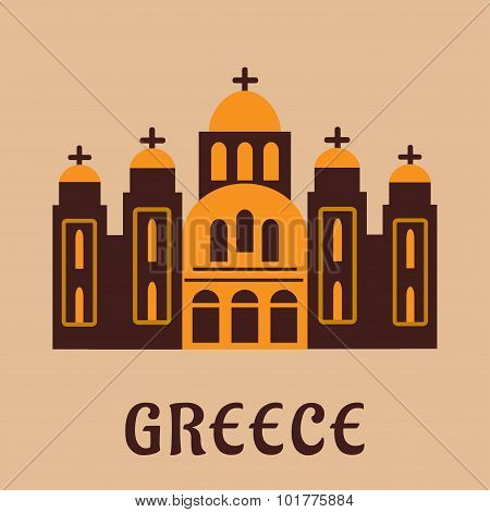Old greek church flat icon