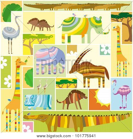 African Animals Tetris Collage