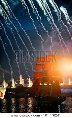 Celebration Scarlet Sails Show During The White Nights Festival,