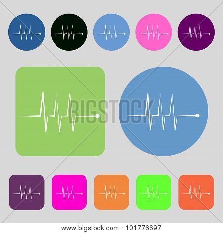 Cardiogram Monitoring Sign Icon. Heart Beats Symbol. 12 Colored Buttons. Flat Design. Vector