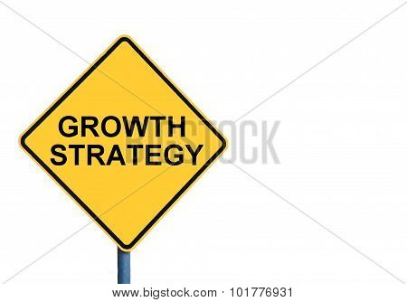 Yellow Roadsign With Growth Strategy Message