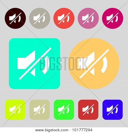 Mute Speaker Sign Icon. Sound Symbol. 12 Colored Buttons. Flat Design. Vector