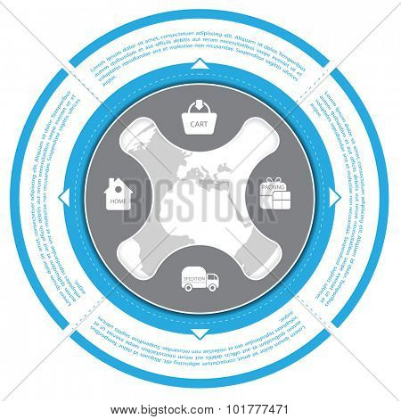 Blue circle with shopping scheme for shop and ecommerce
