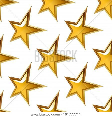 Seamless pattern with glossy golden stars