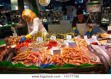 Fish Shop In La Boqueria Market