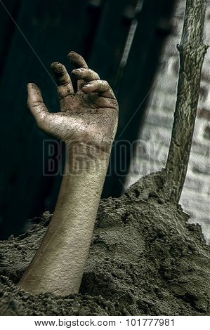 Hand Out Of The Ground Texture Background Halloween