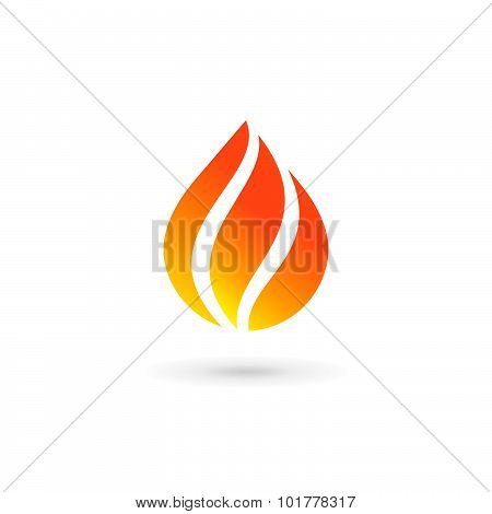 Water Drop Fire Logo Design Template Icon. May Be Used In Ecological, Medical, Chemical, Food And Oi