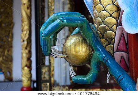 China Dragon Clawed Foot, Chinese Temple In Thailand.