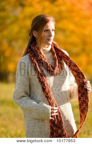 Autumn Country Sunset -  Red Hair Woman