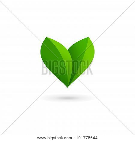 Letter V Heart Eco Leaves Logo Icon Design Template Elements