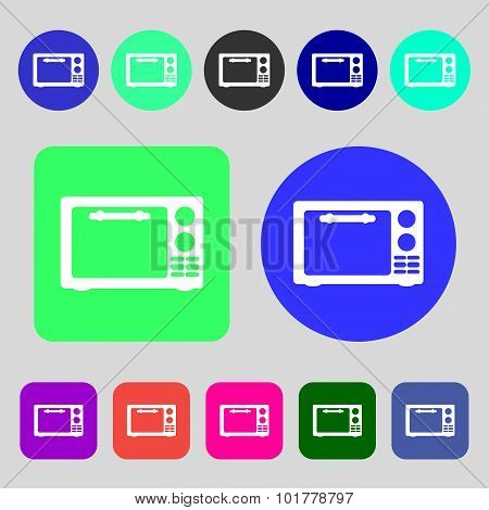 Microwave Oven Sign Icon. Kitchen Electric Stove Symbol. 12 Colored Buttons. Flat Design. Vector