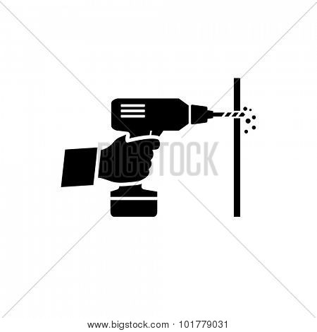 Hand holding drill machine vector icon