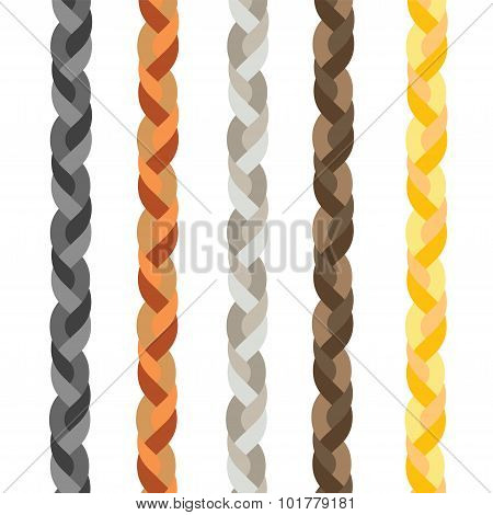 set of five colorful braids