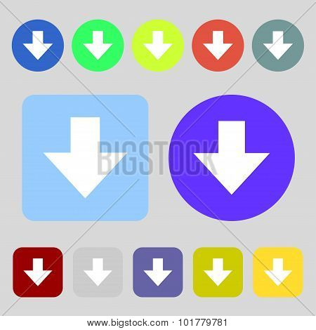 Download Sign. Downloading Flat Icon. Load Label. 12 Colored Buttons. Flat Design. Vector
