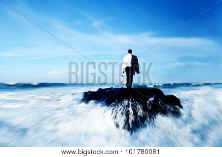 Business Man Standing Rock Ocean Life Buoy Concept