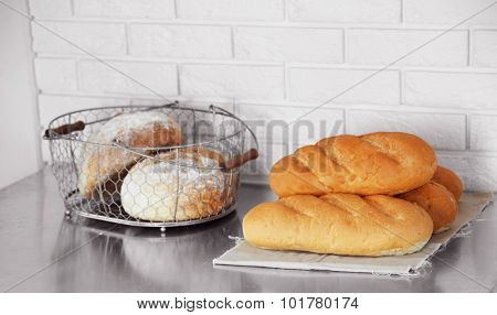 Bread on shelves in store