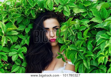 charming sexy woman in green leaves