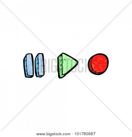 cartoon playback symbols
