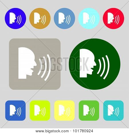 Talking Flat Modern Web Icon. 12 Colored Buttons. Flat Design. Vector