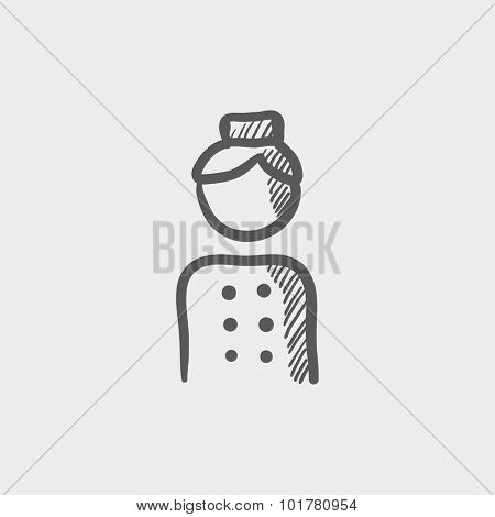 Bellboy sketch icon for web, mobile and infographics. Hand drawn vector dark grey icon isolated on light grey background.