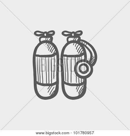 Oxygen tank sketch icon for web, mobile and infographics. Hand drawn vector dark grey icon isolated on light grey background.