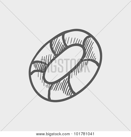 Lifebuoy sketch icon for web, mobile and infographics. Hand drawn vector dark grey icon isolated on light grey background.