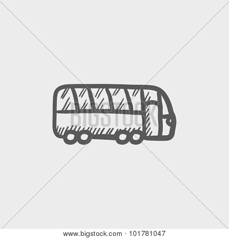 Tourist bus sketch icon for web, mobile and infographics. Hand drawn vector dark grey icon isolated on light grey background.