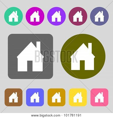 Home Sign Icon. Main Page Button. Navigation Symbol. 12 Colored Buttons. Flat Design. Vector