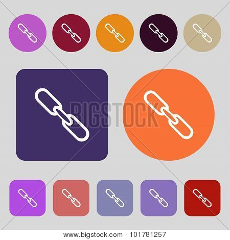 Link Sign Icon. Hyperlink Chain Symbol. 12 Colored Buttons. Flat Design. Vector