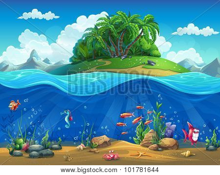 Cartoon underwater world with fish, plants, island