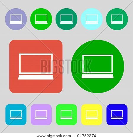 Laptop Sign Icon. Notebook Pc Symbol. 12 Colored Buttons. Flat Design. Vector