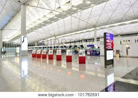 HONG KONG - JUNE 04, 2015: Hong Kong International Airport interior. Hong Kong International Airport is the main airport in Hong Kong. It is located on the island of Chek Lap Kok