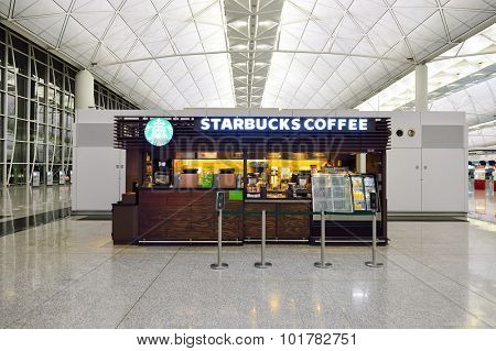 HONG KONG - SEPTEMBER 09, 2015: Starbucks cafe in Hong Kong International airport. Starbucks is the largest coffeehouse company in the world, with more then 23000 stores