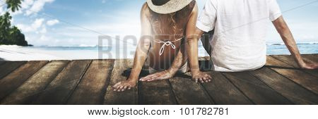 Couple Sitting Wooden Floor Beach Sky Honeymoon Concept