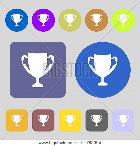 Winner Cup Sign Icon. Awarding Of Winners Symbol. Trophy. 12 Colored Buttons. Flat Design. Vector